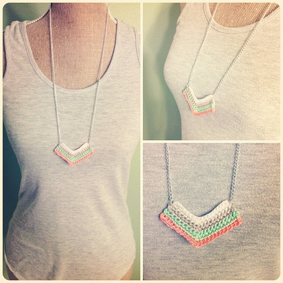crochet chevron necklace