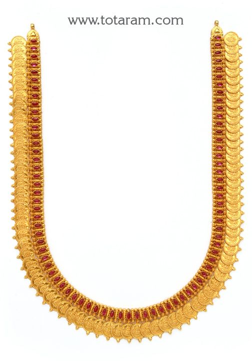22K Gold Lakshmi Kasu Long Necklace Temple Jewellery Indian JewelryIndian Wedding