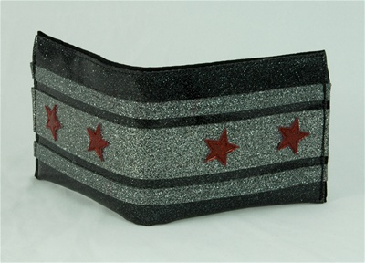 Black Bogart Wallet with Stars by Nitro*A*gogo! - $54.99. Same Evel Knievel cool as the Red, White and Blue wallet just darker! Made from metal flake vinyl. This wallet is hand made in the USA!