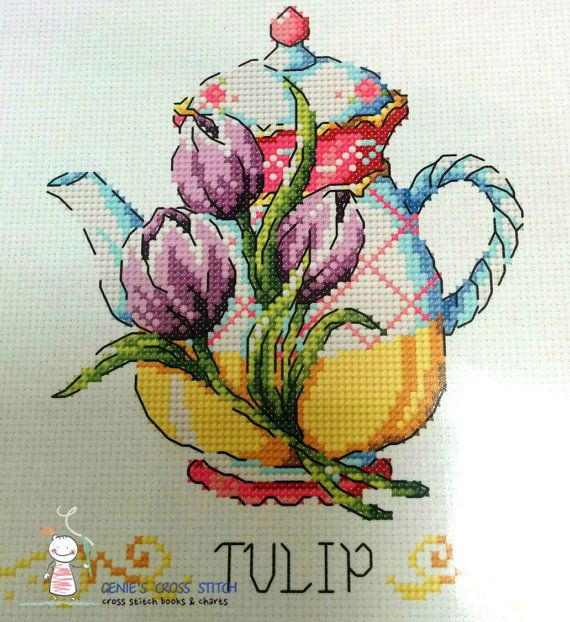 Flower Teapot Cross stitch pattern leaflet. by GeniesCrossstitch