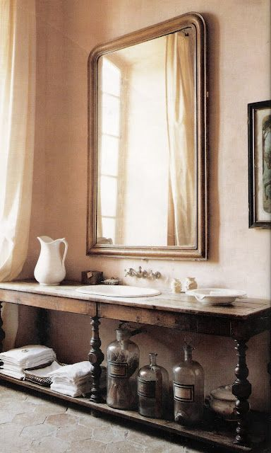 Beautiful Bathroom. Love the antique table converted into a bathroom sink/vanity. - £160... not quite this console, but we have sourced something similar from Failsworth Antiques