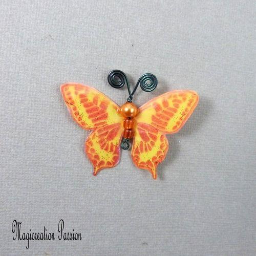 Papillon plastifié maéva orange et jaune 5 cm