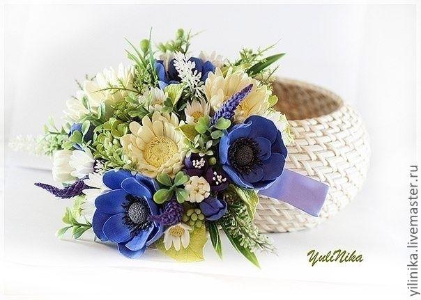 Купить Шкатулка с герберами и анемонами - подарок девушке, гербера, анемоны, синий, ромашки, нежный букет