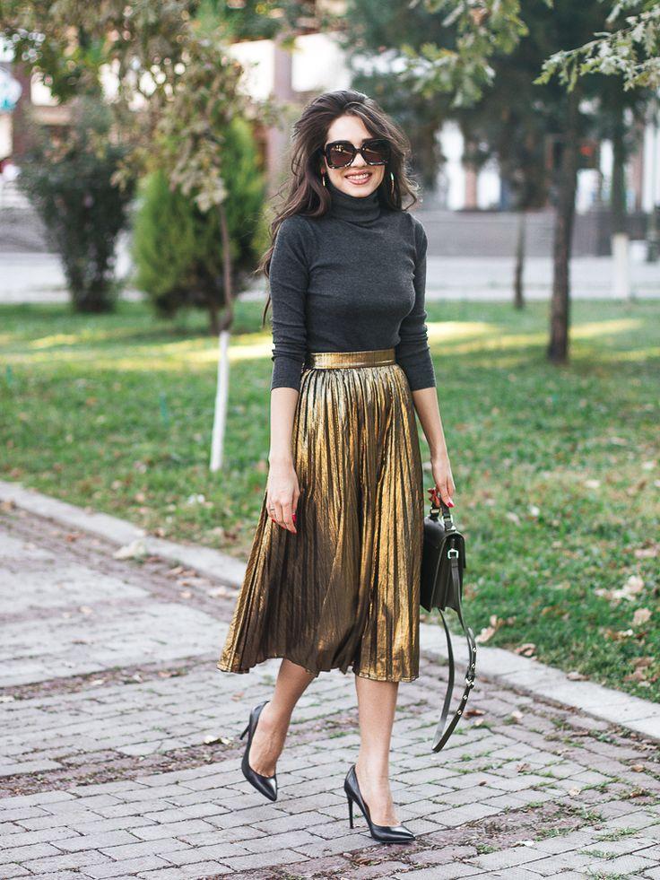 Best 25  Metallic pleated skirt ideas on Pinterest | Metallic ...