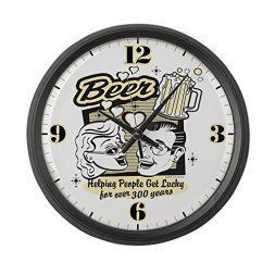 Unique wall clocks make excellent pieces of home wall art décor. In fact, the right large wall clock can truly  elevate any room of your home. Indeed,  this one is truly timeless and one of a kind.  Truly charming, sophisticated and one of the best decorative wall clocks  to use when sprucing up your home. I  love the popular style and design of this wall decoration.      Large Wall Clock Beer: Helping People Get Lucky