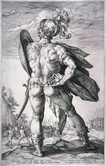 Hendrik Goltzius, Marcus Valerius (Armed for Battle), from Roman Heroes series, engraving, 1586. Fine Arts Museum of San Francisco
