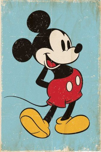 Childrens Walt Disney Retro Mickey Mouse Maxi Poster 61x91.5cm  ESTE MIKY ES EL QUE CONOCÍ DE NIÑO...