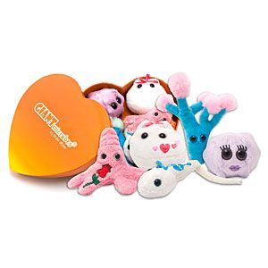 In each Giant Microbes Heart Warming Box Set, you'll get five mini plush microbes: egg, sperm, kissing disease, an amoeba, and penicillin (to make it all better).
