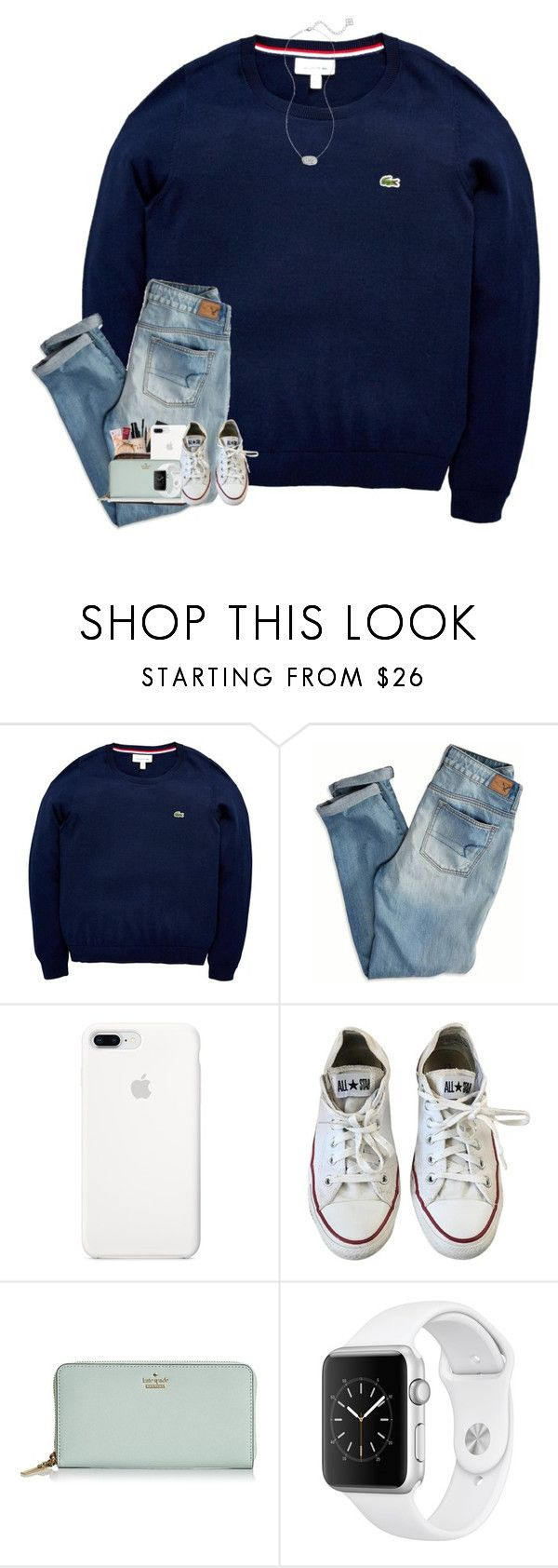 """""""save me✝️"""" by hokieprepster ❤ liked on Polyvore featuring Lacoste, American Eagle Outfitters, Converse, Kate Spade and Kendra Scott"""