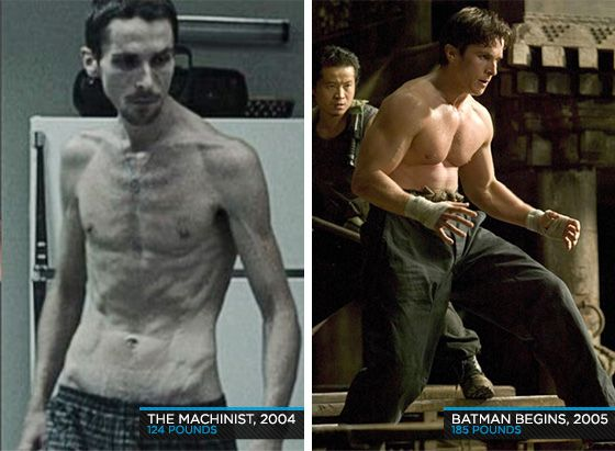 Christian Bale in The Machinist and Batman Begins