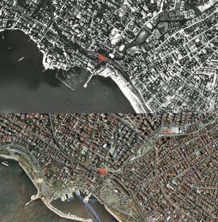 1982'DEKİ BOSTANCI NEREDE? 2014'TEKİ NEREDE?... Alttaki uydu fotoğrafı, Bostancı'nın 2 farklı zamanını gösteriyor. İlki, ÜSTTEKİ, 1982 yılında, henüz kıyıdaki yol için dolgunun yapılmadığı zamanların uydu görüntüsü... Alttaki ise 2014 yılının uydu görseli. Dolgu alanın boyutlarını görebiliyor musunuz?