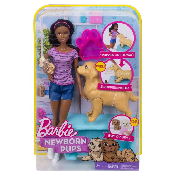 Barbie® Newborn Pups and African American Doll Playset