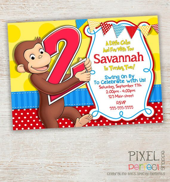 Peachy 17 Best Images About Curious George Birthday Invitations Personalised Birthday Cards Veneteletsinfo