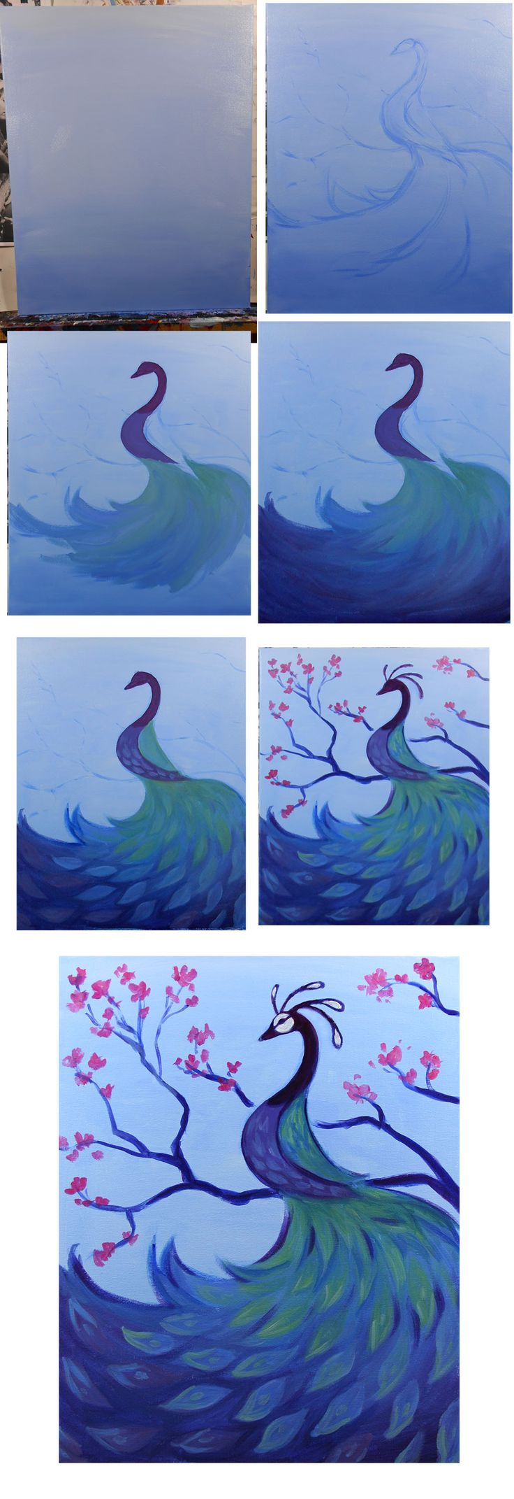 Peacock and Blossoms Progress Colors: Blue, White, yellow, red Brushes: Big Flat…