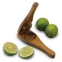 Handmade EcoTeak Wood Lime Squeezer (Thailand) with Brass Fittings  World market has a metal type.