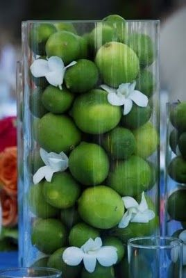 Cylinders of limes. Playing off of the green/spring theme.