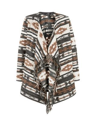 For autumn, this Cream Aztec Print Waterfall Jacket is the perfect wardrobe addition - try over a high neck top and camel mini skirt. £34.99 #AW15edit #newlook #fashion
