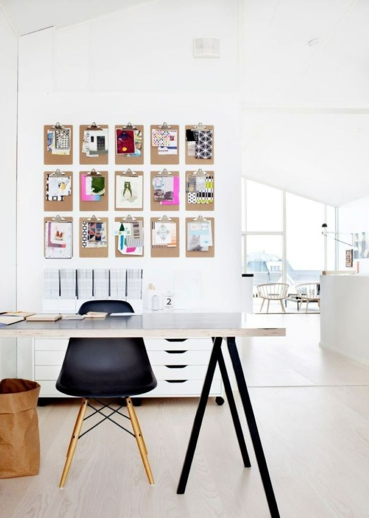 Smart Art Photos Wall Decor With Scandinavian Black And White Home Office Set Plus Laminate Floor Background
