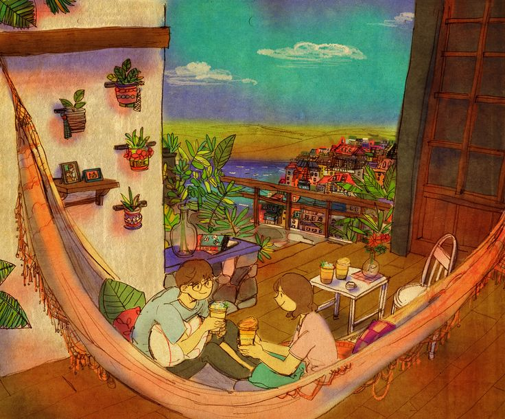 ♥ YUM ~ When the weather gets so hot we swing on the hammock and drink mango smoothies ♥ by Puuung at http://www.grafolio.com/works/163816&from=cr_fd&folderNo=6861  ♥
