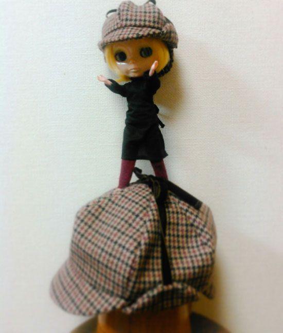 ディアストーカー。鹿打ち帽。 シャーロックホームズみたいな帽子出来ました! #blythe #blythehat