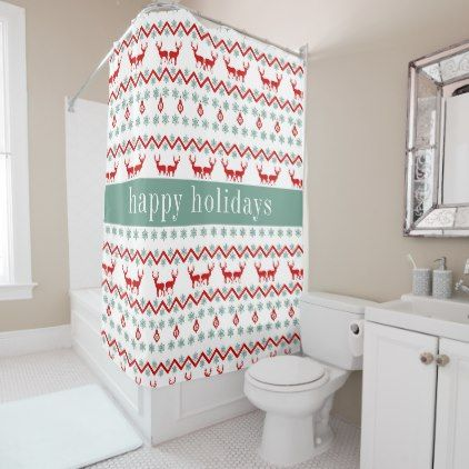 Happy Holidays | Christmas Reindeer Chevron Shower Curtain - Xmas ChristmasEve Christmas Eve Christmas merry xmas family kids gifts holidays Santa