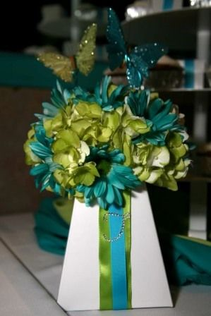 green wedding centerpieces, green and blue wedding centerpiece, minus the butterfly's of course!