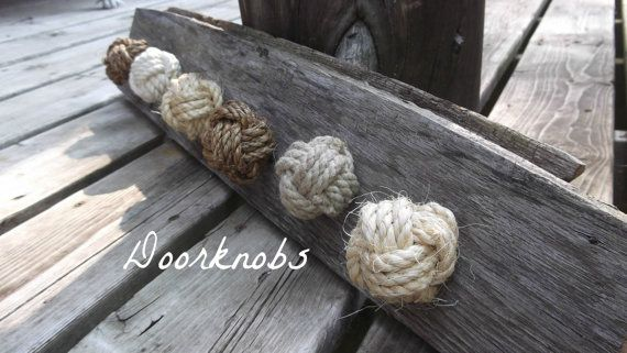 Nautical Decor  Set of 4 knotty door knobs  by KarensRopeWork, $36.00