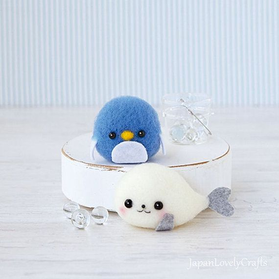 Kawaii Penguin & Seal, Japanese Needle Acrylic Fiber Felt  DIY Kit,  Hamanaka Aclaine Kit, Easy Tutorial,Cute Felt Doll, F157