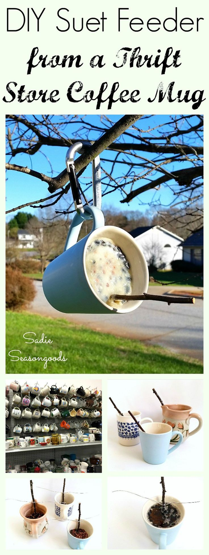 How to make a suet bird feeder for the winter yard and garden with a repurposed and upcycled thrift store coffee mug by Sadie Seasongoods / www.sadieseasongoods.com