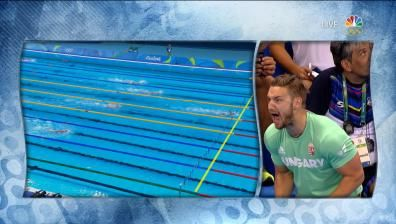 Swimming | NBC Olympics Swimming Katinka Hosszu's coach freaks out when she almost breaks WR