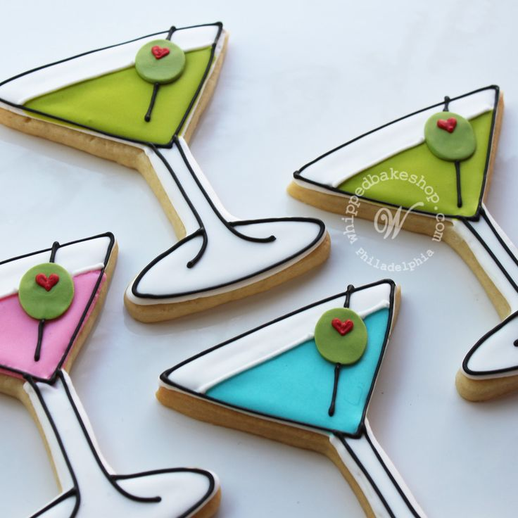 Birthday decorated sugar cookies for him. Royal icing. White, green, pink, blue, black, red. Martini, olives.