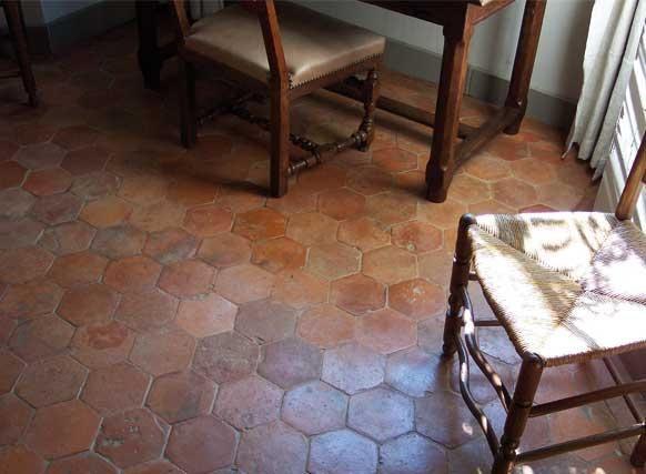 antique reclaimed hexagonal terracotta tile from Provence region in France