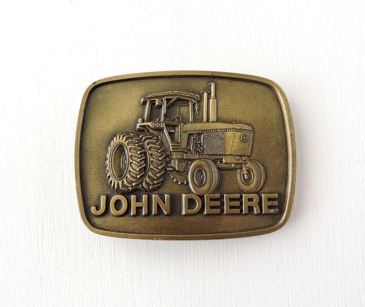 Vintage John Deere Belt Buckle, 1977 John Deere Tractor Buckle, Cast Bronze Brass Buckle, John Deere Collector, Collectible Farm, John Deer by ninthstreetvintage on Etsy