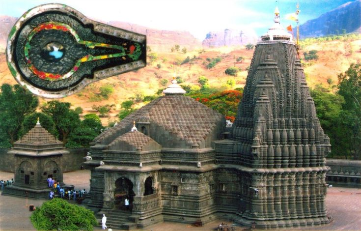 Trimbakeshwar Shiva Temple  Trimbakeshwar or Tryambakeshwar is an ancient Hindu temple in the town of Trimbak, in the Trimbakeshwar tehsil in the Nashik District of Maharashtra, India, 28 km from the city of Nashik. It is dedicated to the god Shiva and is one of the twelve Jyotirlingas.