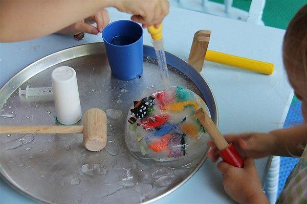 Great kid activity...excavating toys from ice!Craft Kids, Preschool Activities, Kid Activities, Preschool Ideas, Summer Activities, Preschool Kids Ideas, Summer Fun, Ice Block, Babysitting Ideas