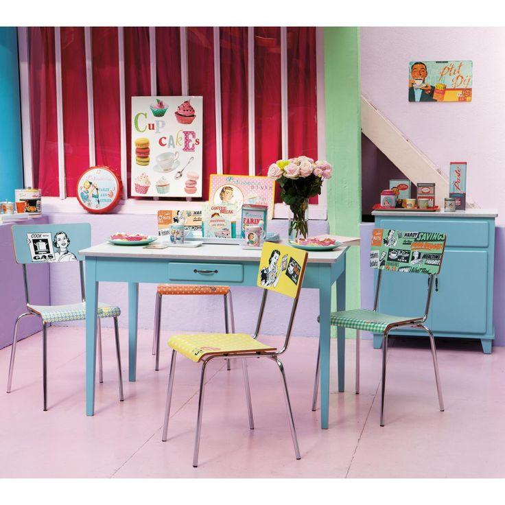Credenza bassa da cucina vintage blu KITCHEN