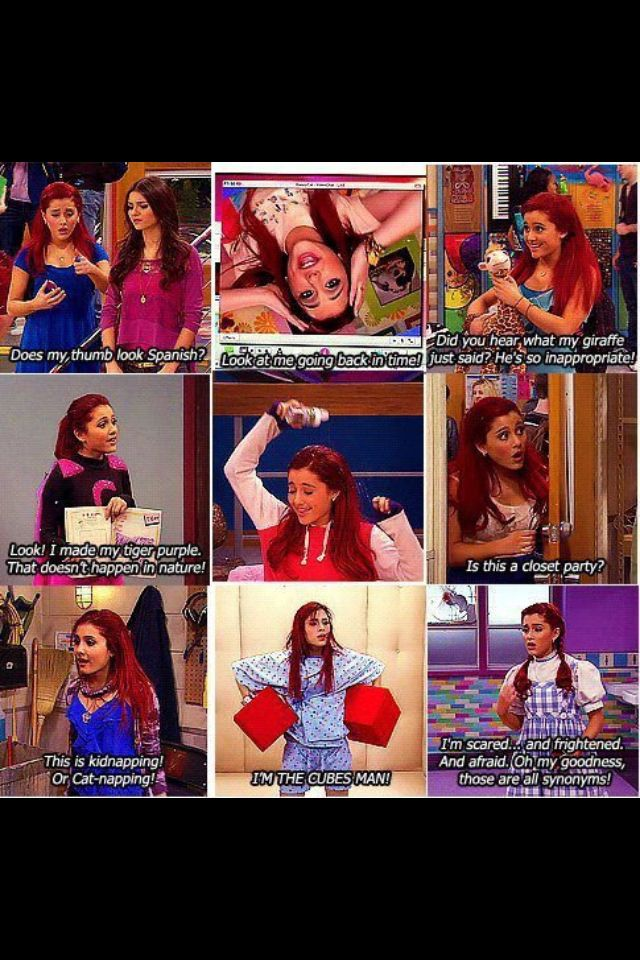 My moments as cat. I miss victorious #victorious #memories ... I SAY A LOT OF THESE THINGS IN SCHOOL.... #arianagrande
