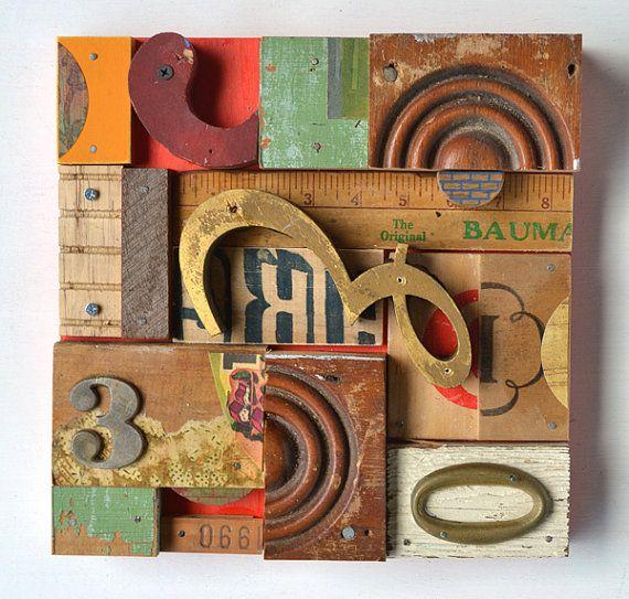 typography vintage sign letters blocks letter E wood collage ORIGINAL by Elizabeth Rosen