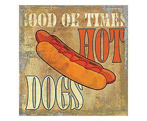 Stampa fine art su canvas con telaio in legno Hot Dog - 50x50x4 cm