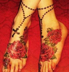 rosary tattoos on foot - Google Search
