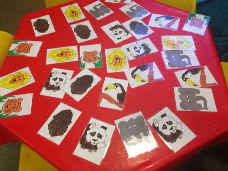 Jungle animals matching cards