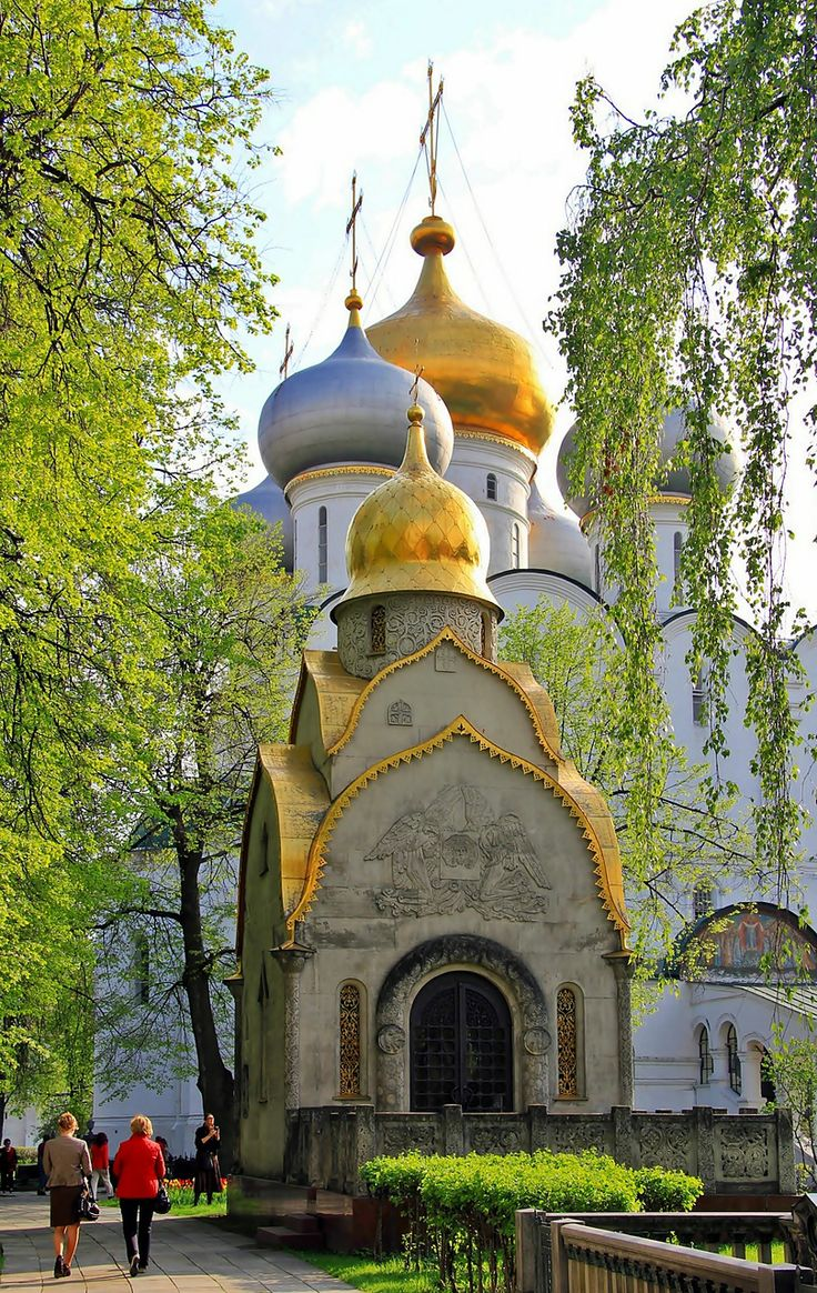 The Prokhorovs Chapel and the Smolensky Cathedral on the background