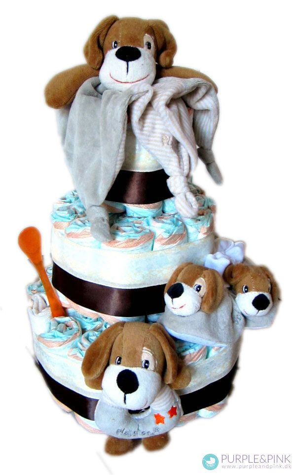 Vuf vuf Diaper Cake som #barselsgave - hunden er barnets bedste ven