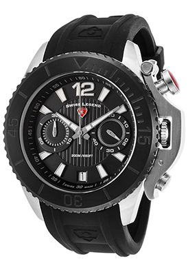 81% Off Swiss Legend Scorpion Chrono Black Silicone and Dial Black Bezel Watch