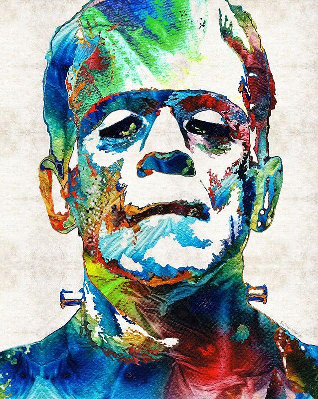 #horror #horrormovies Frankenstein Art - Colorful Monster - By Sharon Cummings
