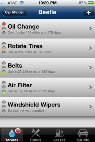 Car Minder Plus - Car Maintenance and Gas Log.  Tells you when you're due for maintenance and tracks gas economy.  Can use on multiple cars.