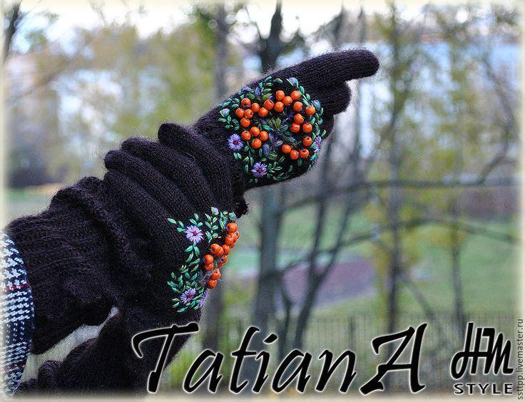 """Купить Длинные перчатки с кружевом """"Рябиновые 4"""" коричневые - коричневый, перчатки, перчатки женские"""