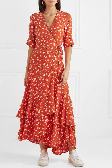 a476fa2f3b9d GANNI - Floral-print crepe de chine wrap maxi dress | currently ...