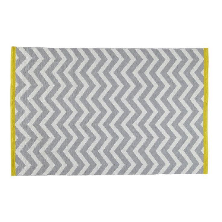 Laagpolig grijs katoenen WAVE tapijt 140 x 200 cm