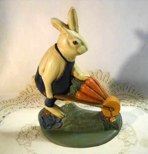 Vintage-Cast-Iron-Bunny-Rabbit-Door-Stop-Carrot-Wheelbarrow-Springy